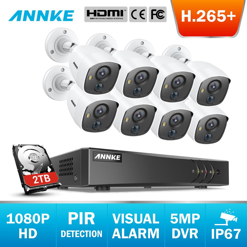 ANNKE 8CH 5MP Lite H.265+ 5in1 CCTV DVR HD 8PCS 1080P Security Camera PIR Detection Outdoor Camera Home Video Surveillance Kit