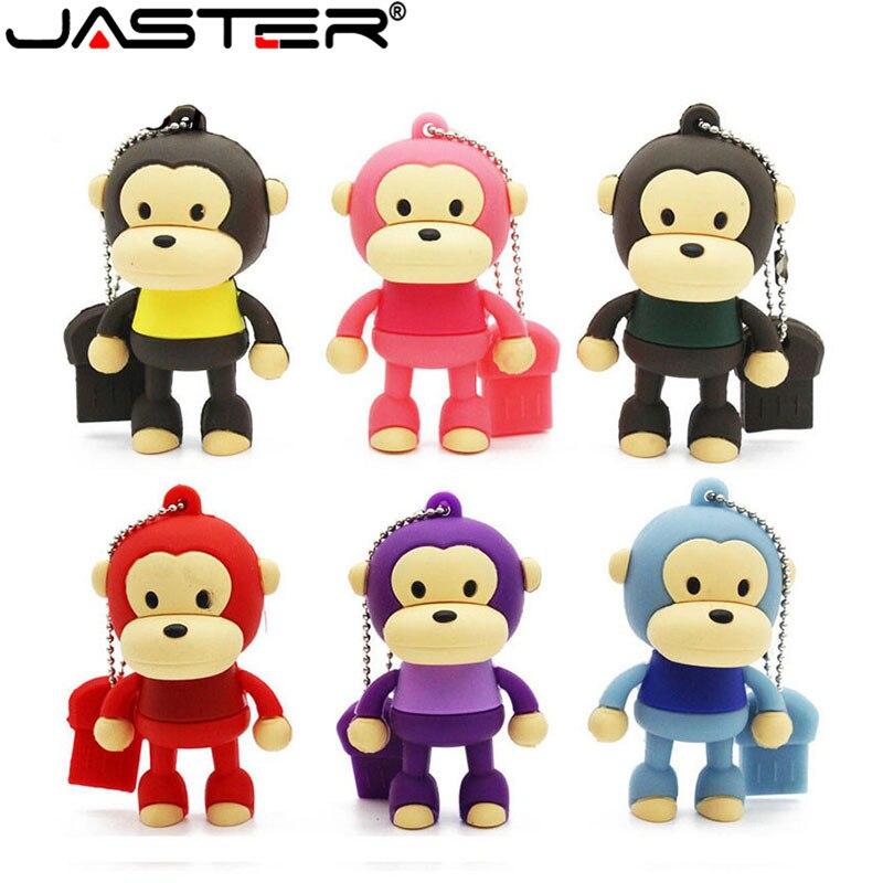 JASTER Mini Animal Hot Sale Cartoon Cute Monkey USB Flash Drive Pendrive 4GB 16GB 32GB 64GB USB Stick  Memory Storage Pen Drive
