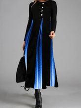 Женское платье с градиентными пуговицами длинное большого размера
