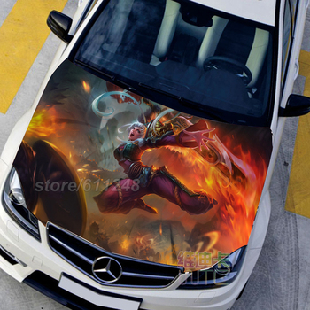 LOL Game Anime Itasha Hood Vinyl Stickers Riven The Exile Engine Cover Decals Sticker On Car Protect Film Auto Accessories