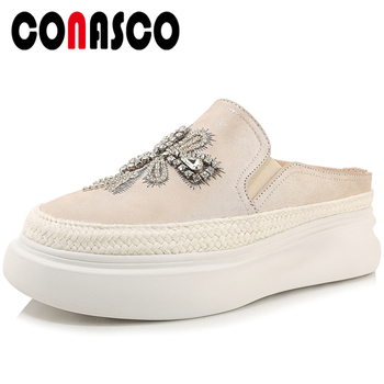 CONASCO Fashion Casual Summer New Genuine Leather Women Sandals Mules Slippers Crystal Embroider Platform Flat With Shoes Woman