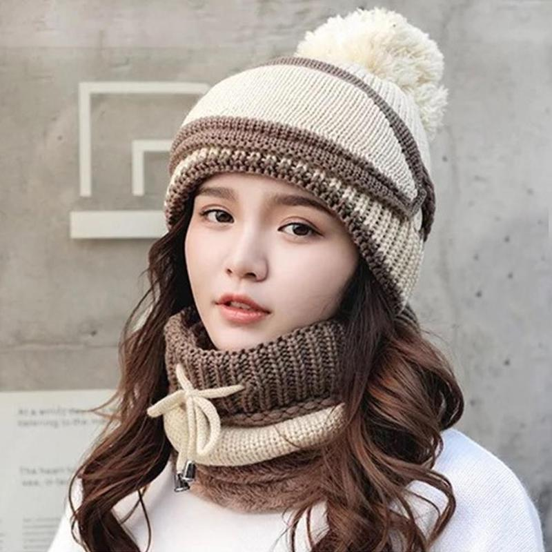 New Hat Mask Collar Three-piece Winter Plus Velvet Warm Knit Hat Riding Windproof Earmuffs Thickening Ladies Wool Cap