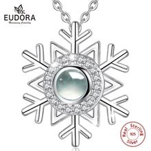 EUDORA 925 Sterling Silver Romantic Love Memory Snow Flower Necklace 100 Languages I You Projection Pendant Women Jewelry