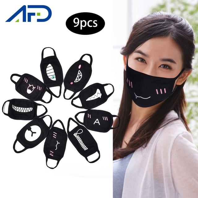 9pcs/set Black Face Masks Cartoon Anime Kpop Mask Women Men Kids Face Mouth Masks Washable Cotton Mask