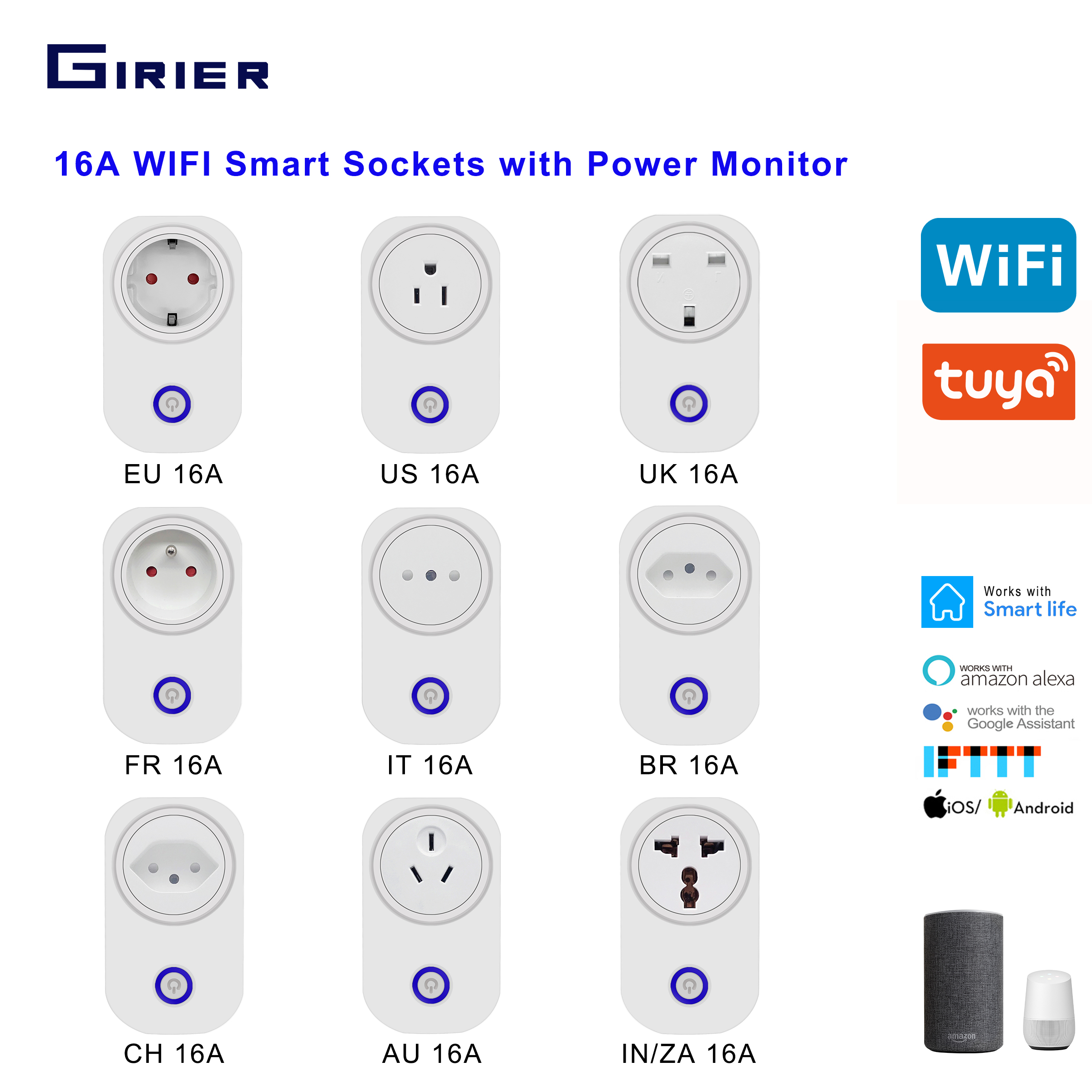 Smart Wifi Plug Socket 16A With Power Monitor Tuya App Voice Remote Outlet EU US UK FR IT BR CH AU IN Support Alexa Google home|Smart Remote Control| |  - title=
