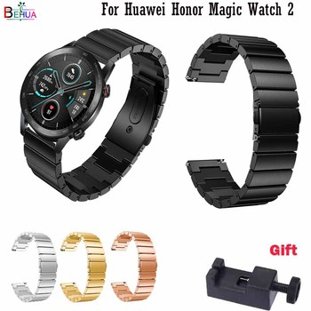 22mm watch band For Huawei Honor Magic Watch 2 Replacement Stainless Steel Straps for huami Amazfit Stratos3 metal bracelet band