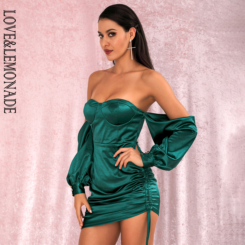 LOVE&LEMONADE Sexy Green Off-The-Shoulder Tube Top Loose Sleeves Smocked Tiestring Bodycon Mini Party Dress LM81972