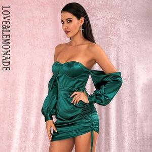 Image 1 - LOVE & limonada vestido verde sexi con hombros descubiertos, minivestido de fiesta, mangas sueltas, Ceñido