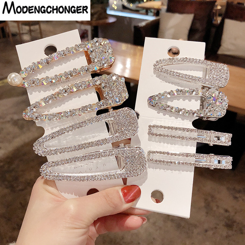1PCS Pearl Hair Clip Snap Hair Barrette Stick Hairpins Pearl Rhinestones For Girls New Fashion Women Hair Styling Accessories