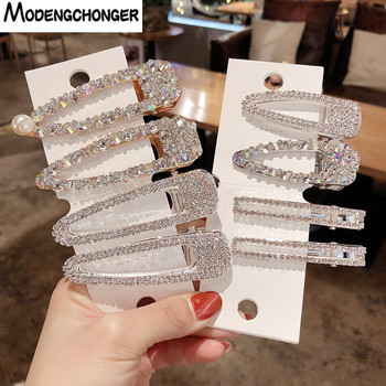 1PCS Pearl Hair Clip Snap Hair Barrette Stick Hairpins Pearl Rhinestones For Girls New Fashion Women Hair Styling Accessories 1pcs girls pearl hair clip fashion candy color hairclip barrette stick women hair pins bobby hair accessories elegant hairpin