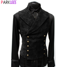 Mens doble botonadura gótico Steampunk Chaleco de terciopelo chaleco Collar victoriano Medieval negro chaleco hombres etapa Cosplay de baile, traje,