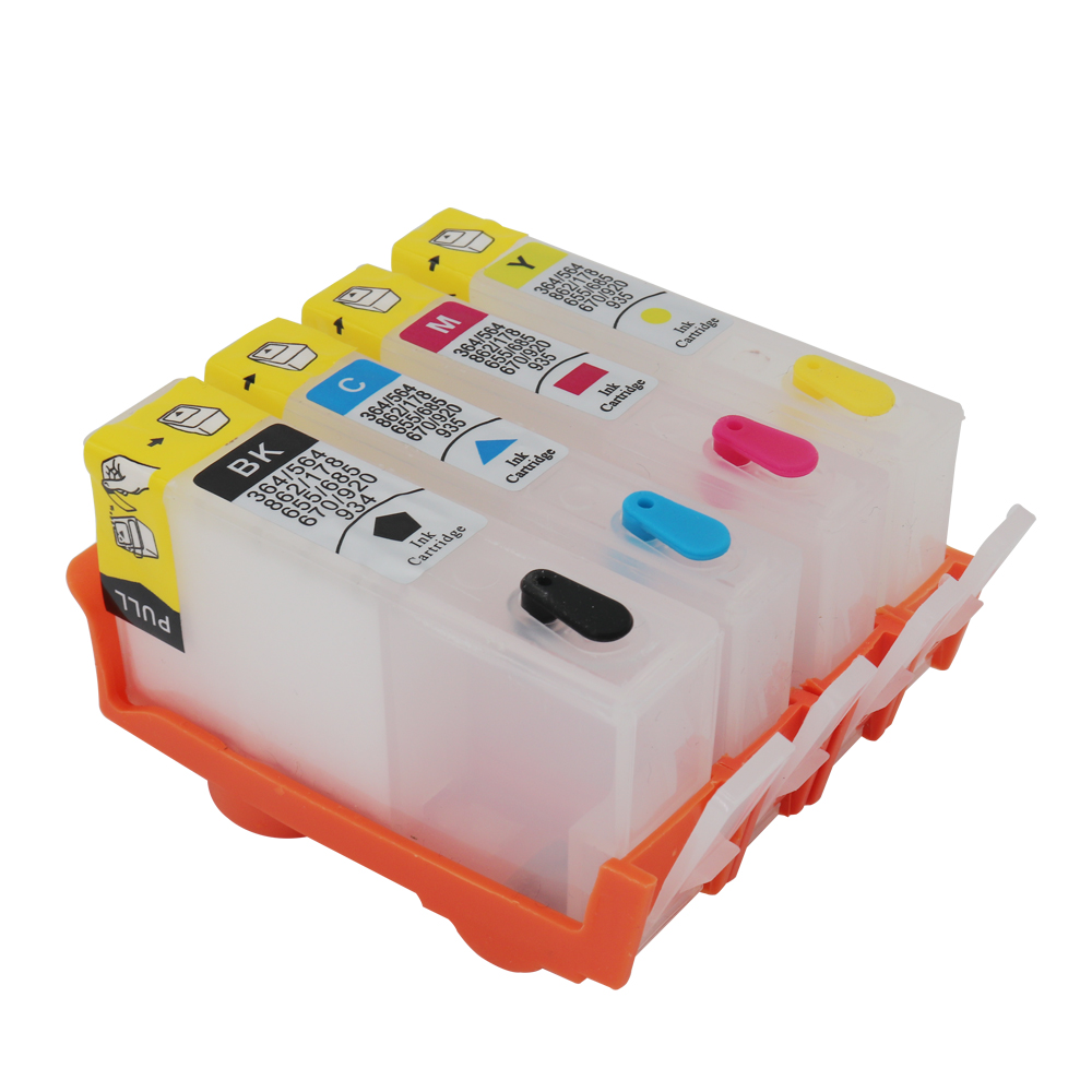 For <font><b>HP</b></font> 920 refillable ink cartridges suit for <font><b>HP</b></font> 934 935 <font><b>364</b></font> 564 862 178 655 685 670 6000 6500 6500A 7000 with ARC chip 4 pcs image