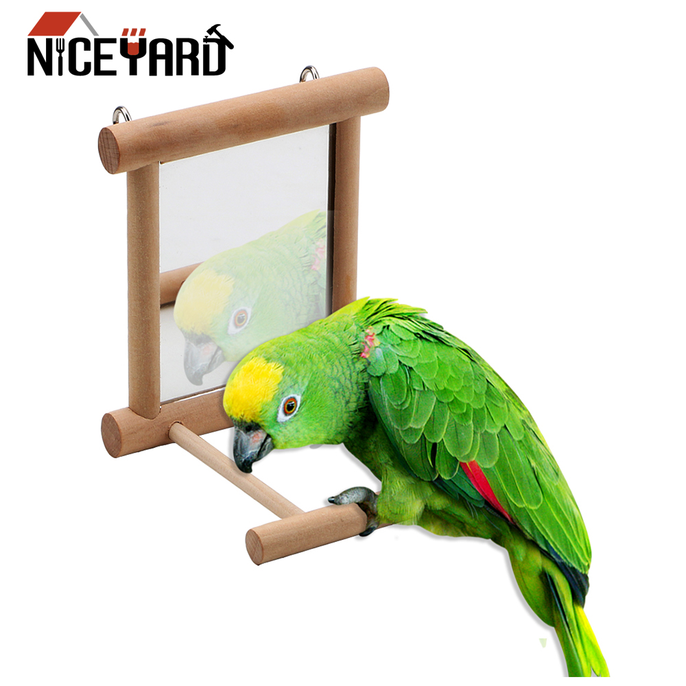 NICEYARD Parrot Bird Toys Bird Accessories font b Pet b font Toy With Mirror Wooden House