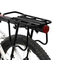 Cremalheira da bicicleta prateleira traseira ciclismo bagagem traseiro transportadora tronco da bicicleta de estrada mtb suporte carga com luz placa reflexiva
