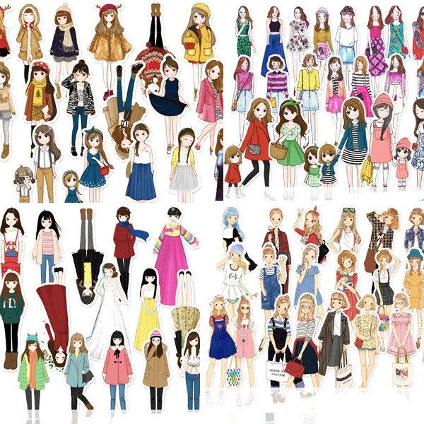 Fun Fashion Girl Stickers DIY Scrapbooking Album Junk Journal Happy Planner Decorative Stickers