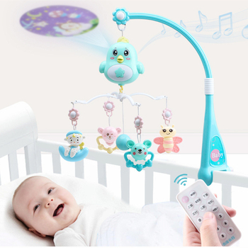 Baby Toys Rattle Infant Crib Mobile Bed Bell With Projection Music Newbown Early Learning develop Kids Toy music box 1