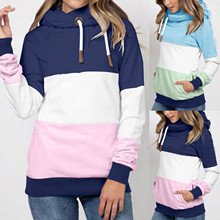 2020 New Women Casual Hoodies Solid Contrast Patchwork Long Sleeve Sweatshirt Drawstring Autumn Winter Thick Warm Pullover Tops