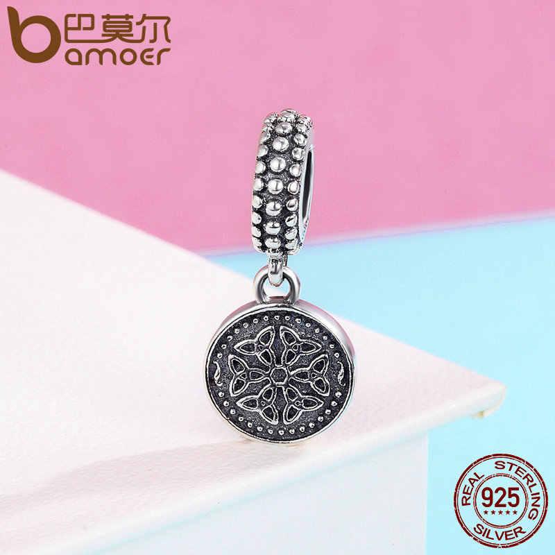 BAMOER New Arrival 925 srebro Symbol życia wiszące Charms fit kobiety Charm bransoletki naszyjnik biżuteria SCC284