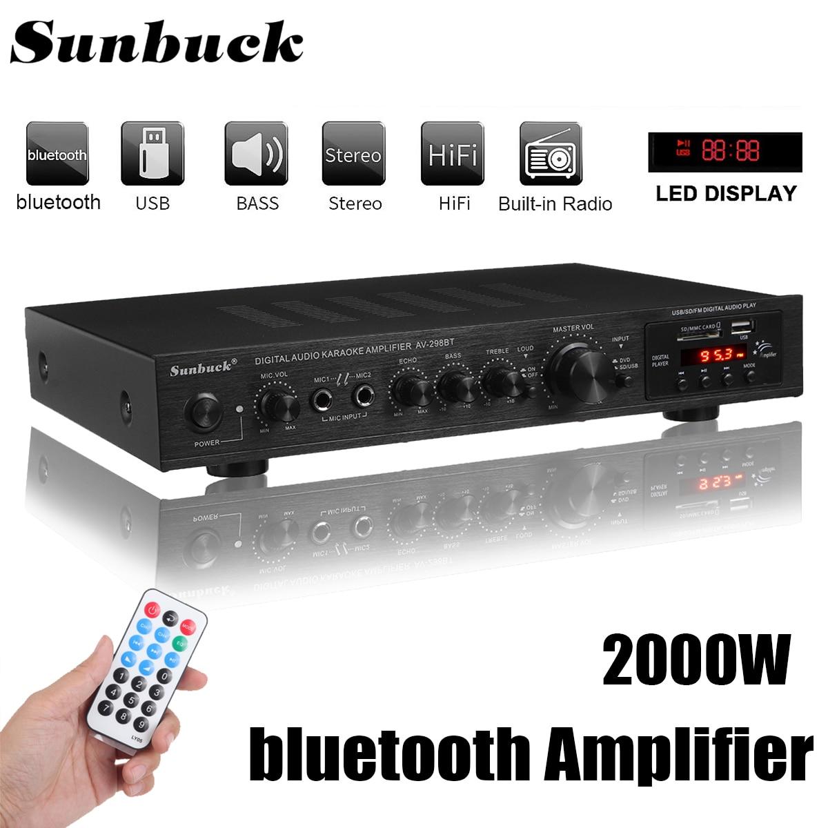 Усилитель мощности bluetooth, ЖК-дисплей, аудио Hi-Fi 800 Вт 220 В-240 В 50 Гц 5 каналов, домашний кинотеатр, FM радио, поддержка SD/USB 2 микрофона