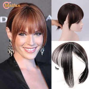 MEIFAN Top Hair Pieces with Air Bangs Clip in Hair Bangs Fringe Invisible Seamless Lifelike Synthetic Natural Bangs Hairpieces