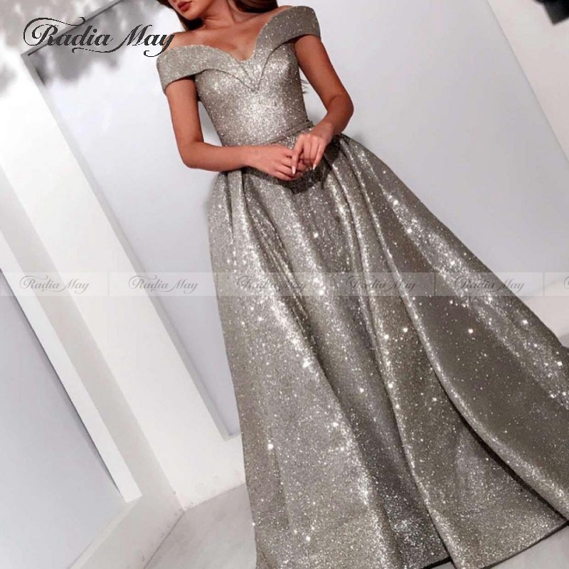 Bling Bling  Glitter Off Shoulder Evening Dress A Line Dubai Women Formal Prom Gowns 2020 Corset Back Long Party Dresses New