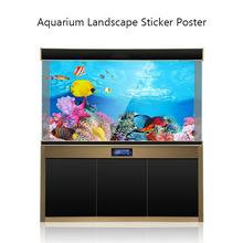 Aquarium Decor Sticker Poster Fish Tank 3D Background Painting Sticker Double-sided Ocean Sea Plants Backdrop Aquarium Landscape
