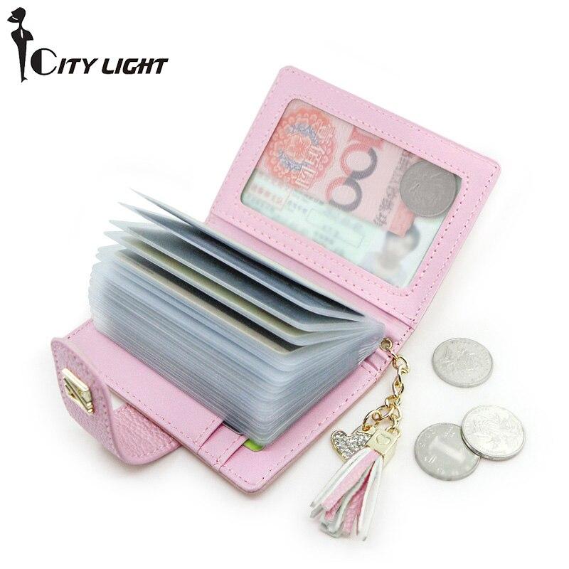 Women Card Holders Fashion Tassel Hanging Credit Card Wallet Brand Women Business Card Holder 20 Card Slots Pu Leather