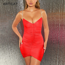 Articat Sexy Diamonds Strap V Neck Dress Women Sleeveless Backless Ruched Bodyco