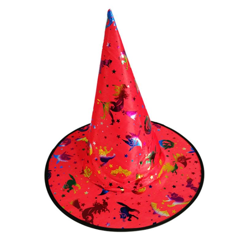 Adult Children Witch Wizard Hat Colorful Bronzing Foil Pumpkin Pattern Fancy Dress Halloween Party Masquerade Cosplay Costume