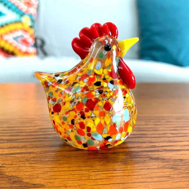 Colorful Crystal Glass Rooster Turkey Animal Figurines Cock Chicken Miniature Hand Blown Modern Miniatures Home Decor Xmas Gift 3