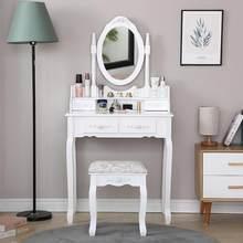 Moderno de madeira vestir vaidade conjunto de mesa concisa 4 gaveta com 360 rotação espelho maquiagem cômoda cadeira organizador jóias