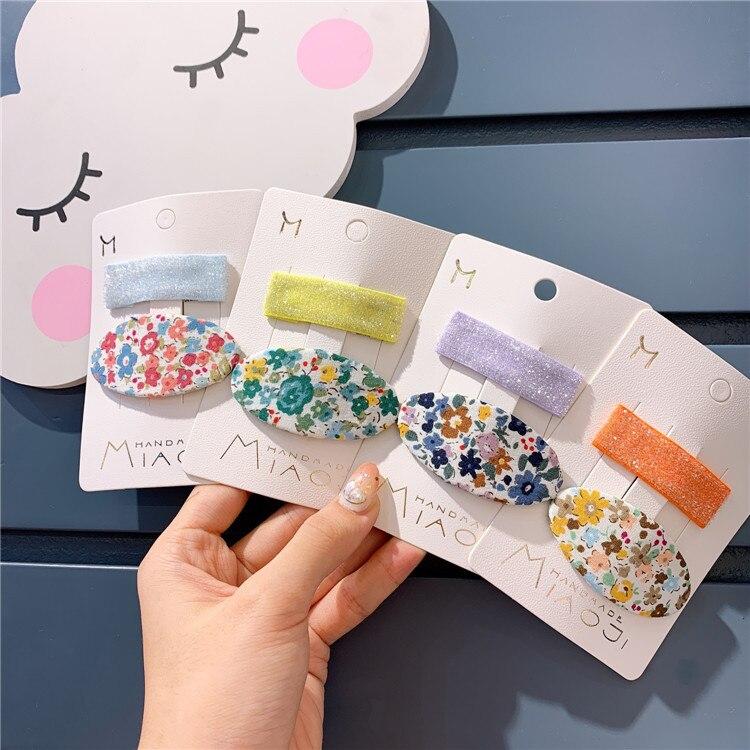 Korean Kids Cute Children's Retro Lovely Flower Hairpin Girl Print Bb Clip Banger Accessories Hair Clips For Girls Shine