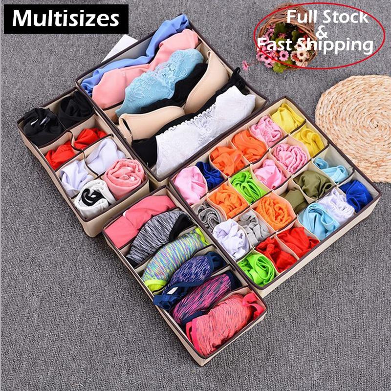 2020 New Multi-size Foldable Storage Box Bra Underwear Organizer Non-woven Fabric Wardrobe Organizer For Underwear Socks