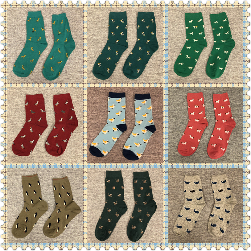 Adult Size Mid Calf Crew Animal   Socks   Poodle Dog Seagull Panda Penguin Pelican Deer Bird Duck Unicorn Monkey Whale Bear Squirrel