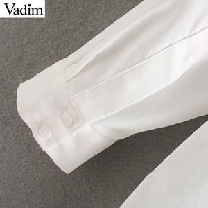 Image 5 - Vadim femmes mode blanc blouses longues poches décorer chemises à manches longues basique femme tenue de bureau décontracté hauts blusas LB789