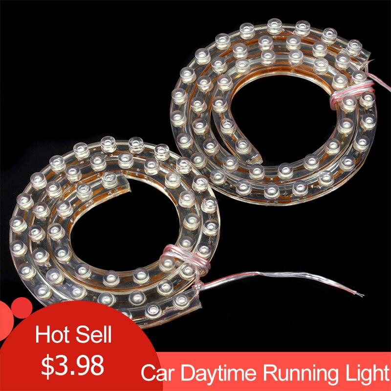 Free Shipping 2PCS  2 x 50cm 48 LED 12V 2W Universal Strip Style White Car Daytime Running Light