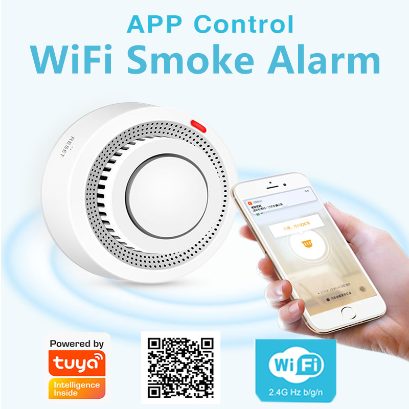 Tuya WiFi Smoke Detector Smart Life APP Fire Alarm Smoke Sensor WiFi Smoke Alarm Security Detector 80dB