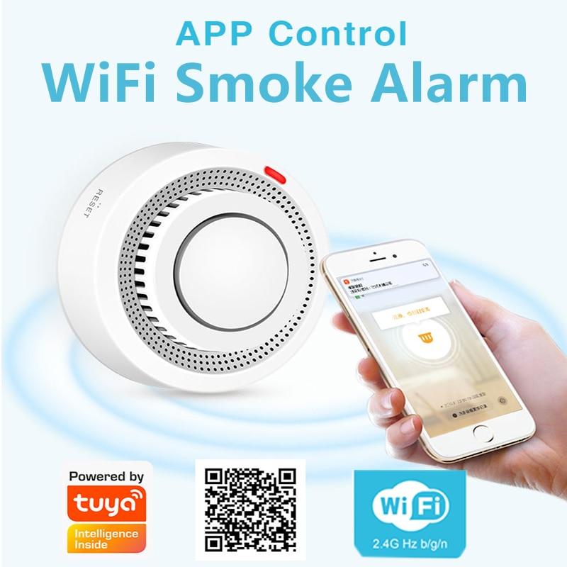 Tuya WiFi Smoke Detector Smart Life APP Fire Alarm Smoke Sensor WiFi Smoke Alarm Security Detector 80dB