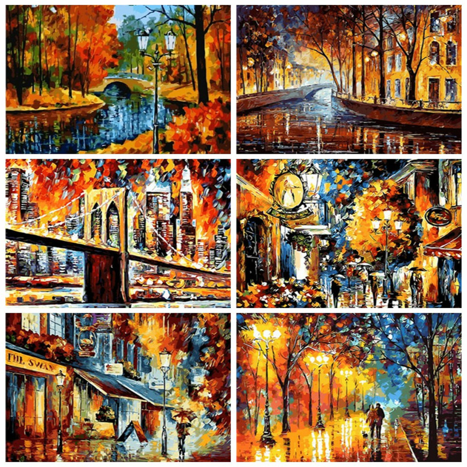 AZQSD DIY Paint By Numbers For Adults Scenery Acrylic Paint Handicraft Oil Painting By Numbers City Unframe Handmade Gift