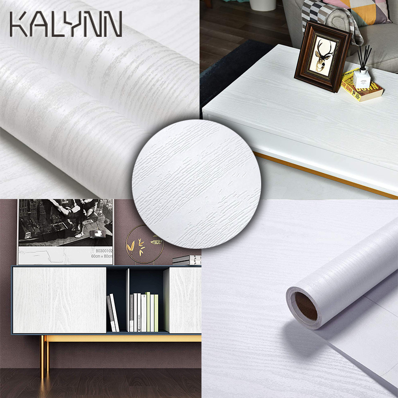 White Wood Self-Adhesive Wallpaper For Kitchen Cabinet Locker Vinyl  Liner Sticker 60cm Width Desktop Decoration Contact Paper