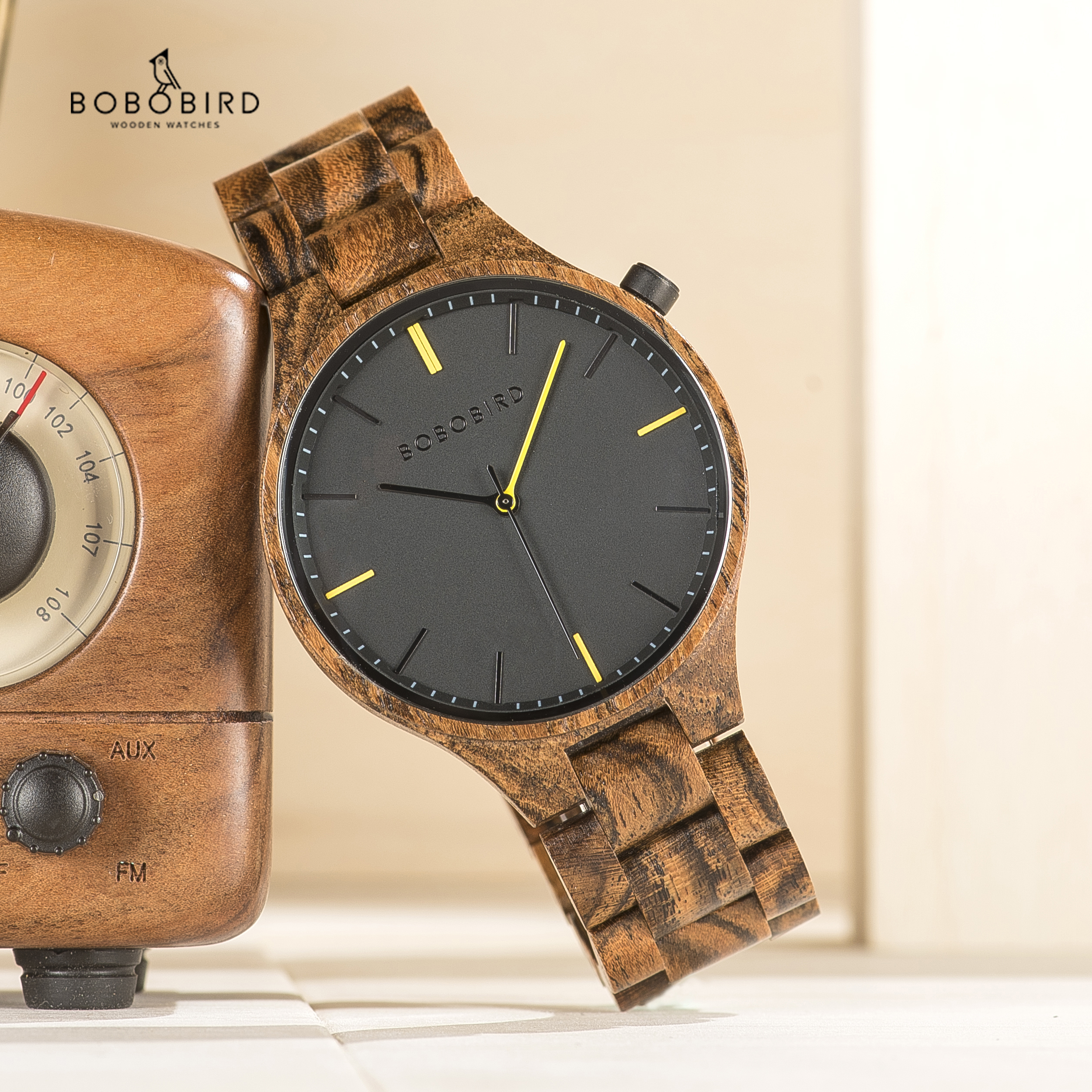 BOBOBIRD montre homme 2019 Watches Mens Wood Timepiece Wristwatch with Gift Wooden Box Dropshipping V S27-in Quartz Watches from Watches