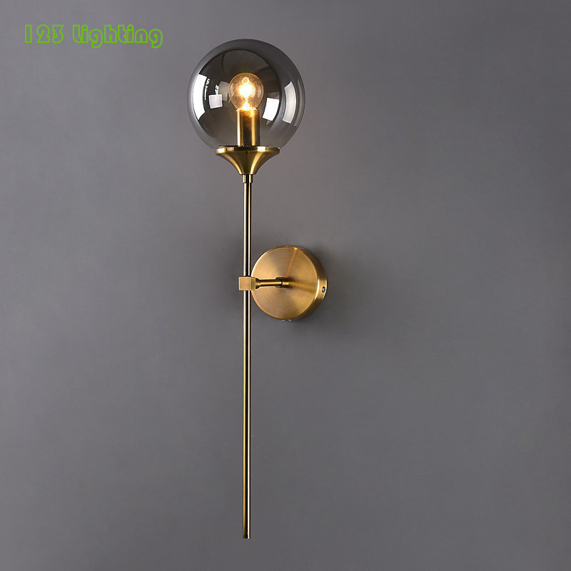Permalink to Modern Clear/Amber/Smoke grey/White Glass Wall Lamp Bedside Wall Sconce Living room Wall Light E14 LED Warm light Nordic Lamp