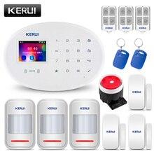 KERUI W20 2.4 بوصة شاشة ملونة TFT واي فاي نظام إنذار أمن داخلي بالنظام العالمي للاتصالات المتنقلة مجموعة بطاقة تتفاعل APP التحكم كاشف حركة لص Alarme