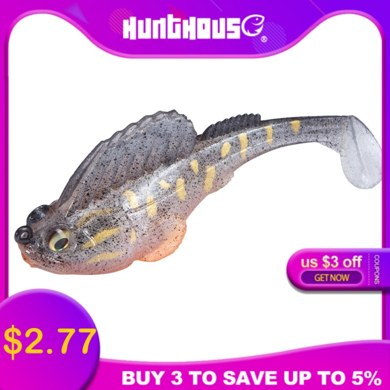 Hunthouse Lead Head Swimbaits Soft Lure 3 Inch 3/8oz Fishing Pike Lure Perch Lure Paddle Tail Swimbait Dark Sleeper Leurre