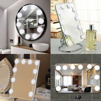 3 Colors LED Makeup Mirror Light Dimming Beauty Full Backlit Vanity Mirror USB Light 2/4/6/10/12 Bulbs Hollywood Make up Lamp 1