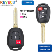 KEYECU FCC: HYQ12BDM H 칩 교체 2 + 1 3/ 3 + 1 4 버튼 원격 키 Fob for Toyota Rav4 Prius C V Carmy TOY43 블레이드