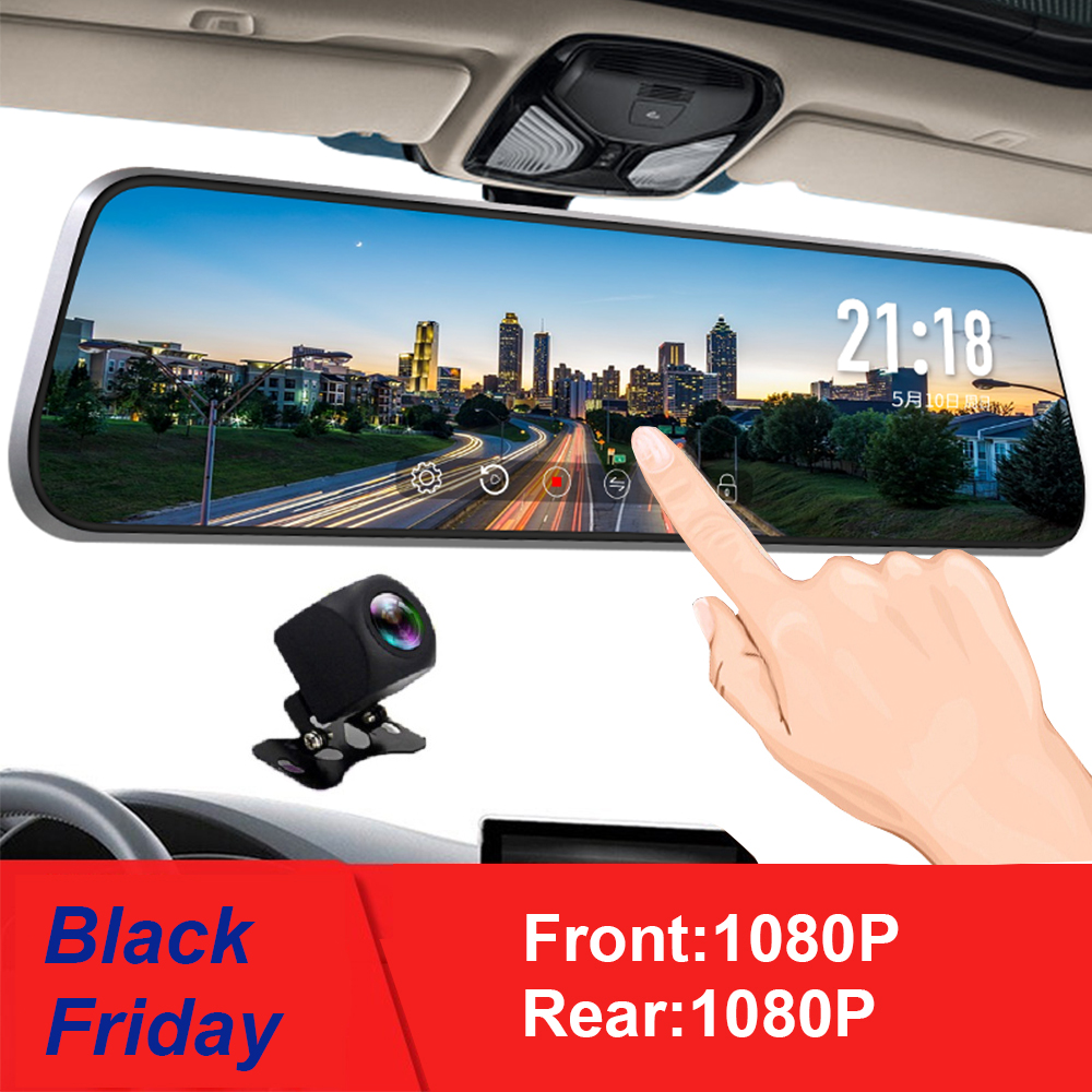 10 Inch Touch Screen Car RearView Mirror Dash Camera Mirror FHD Car DVR Mirror Dual Lens With Rear View Camera Recorder DashCam