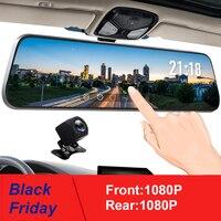 10 Inch Touch Screen Car RearView Mirror Dash Camera Mirror FHD Car DVR Mirror Dual Lens With Rear View Camera Recorder DashCam