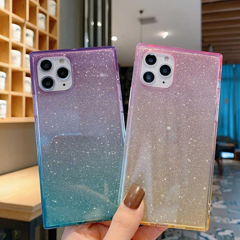 Parlak kağıt kare telefon iphone kılıfları 11 Pro Max Xs Max 7 8 artı Xr X gömme kılıf yumuşak TPU degrade renk kılıf arka kapak