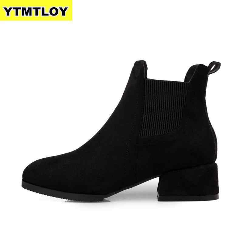 2019 г. Осенне-зимние ботинки женские черные ботинки на толстом каблуке, без шнуровки женская обувь Bota Feminina, Размеры 35-43, Черные ботильоны